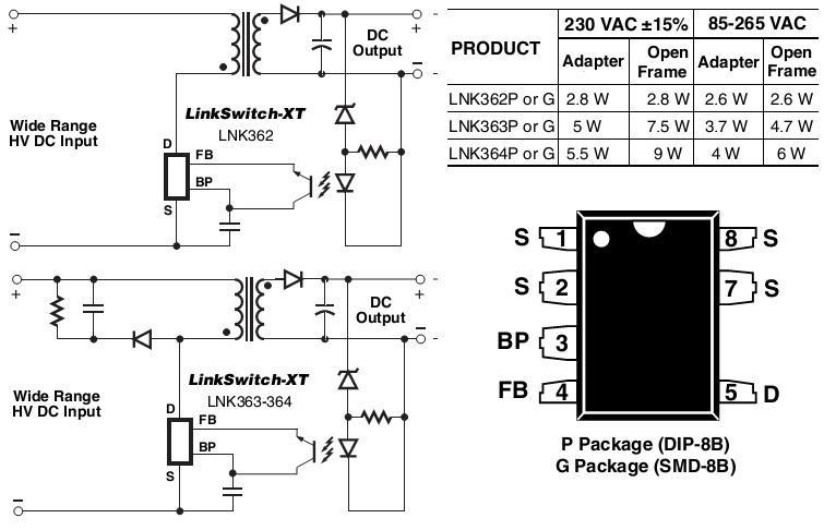 Lnk364pn схема включения