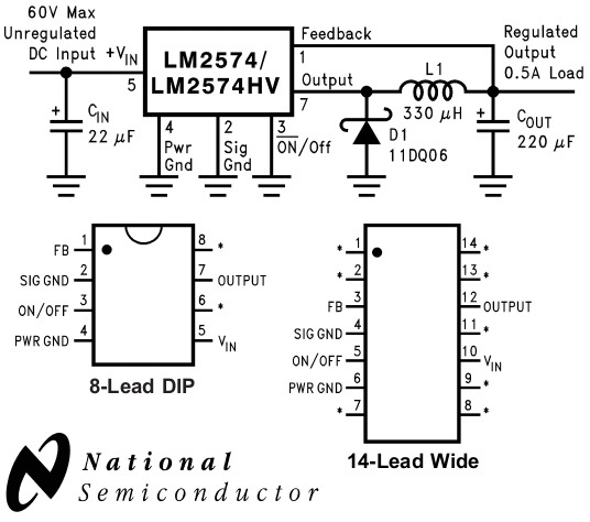 Lm2574n схема включения